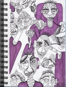 Abstract Face Sharpie Pen Illustration
