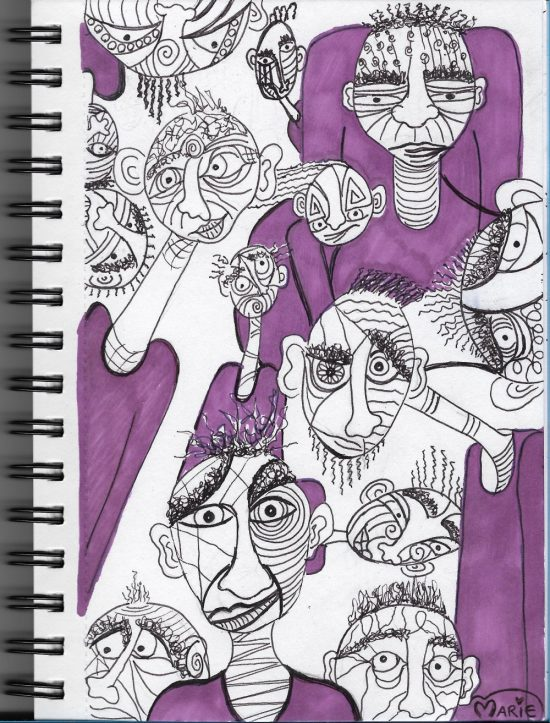 Abstract Face Sharpie Pen Illustration