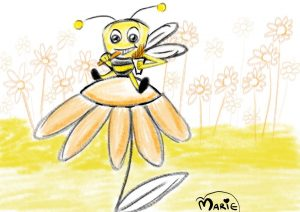 Bee Eating Chips Illustration
