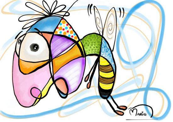 Bee Scribble Illustration