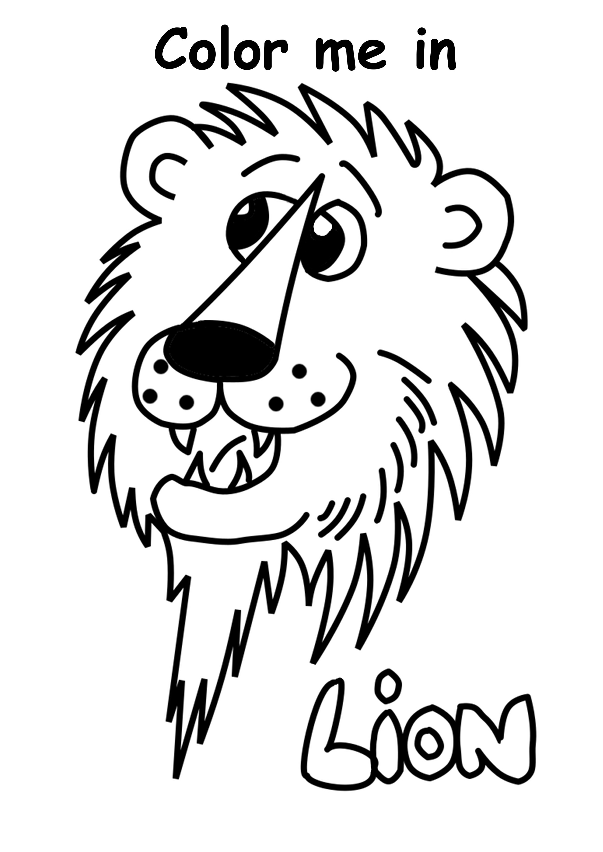 Childrens Free Color Me In Lion Print Out