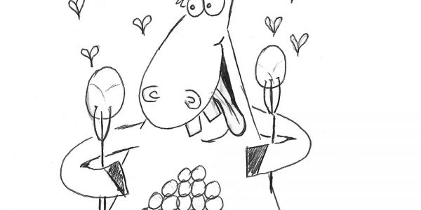 Donkey Eating Brussels Sprouts Pen Drawing
