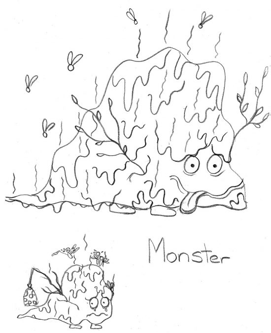 Let Me Keep My Monster Spud Picture Book Early Pencil Drawing of the Monster