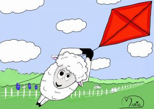 Sheep Flying Kite Illustration