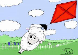 Sheep Flying Kite Illustration