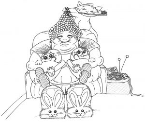 Great Aunt Matilda and the Tearaway Twins Pen Drawing