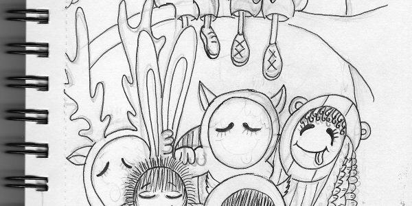 Woodland Friends Pencil and Pen Drawing